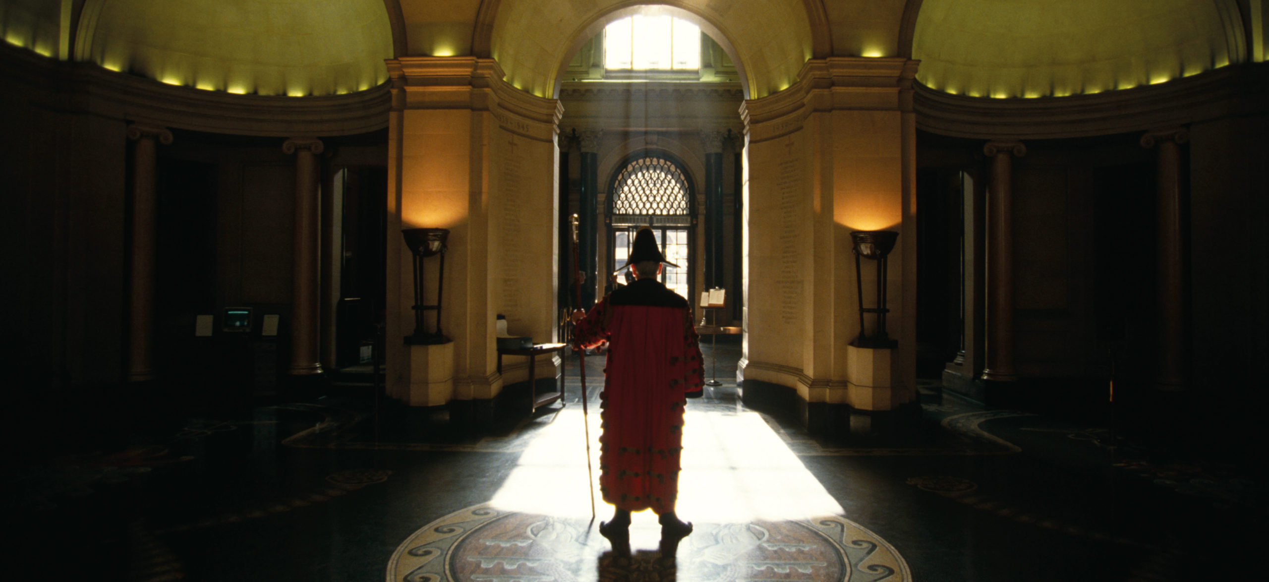 Head Gatekeeper inside the main entrance hall of the Bank of England in Threadneedle Street in the City of London